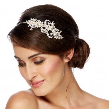 Jon Richard Women's Freshwater pearl and swirl side headband QT7OB