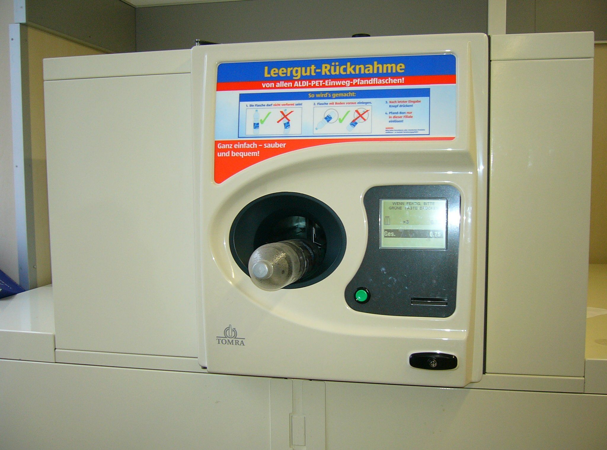 Bottle deposit return machine