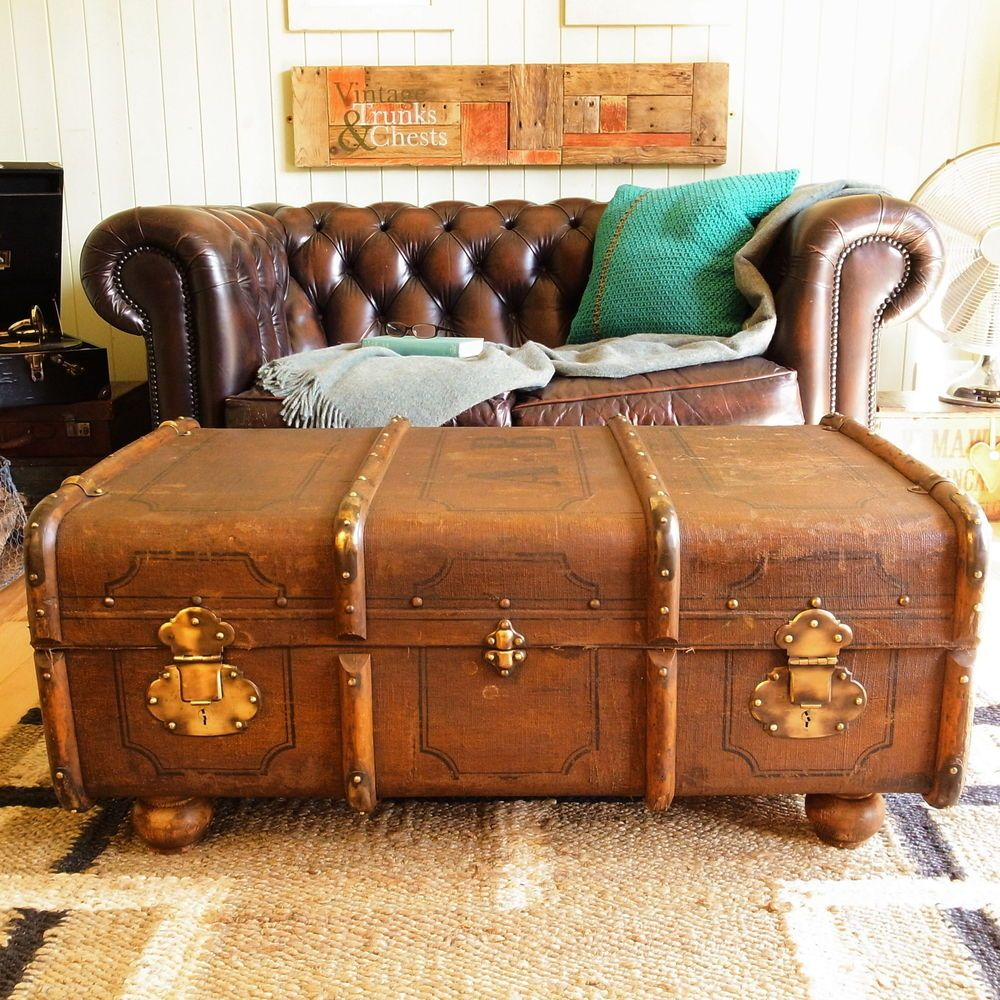 Vintage Steamer Trunk Chest Banded Railway Luggage Suitcase Coffee Table Storage Coffee Table