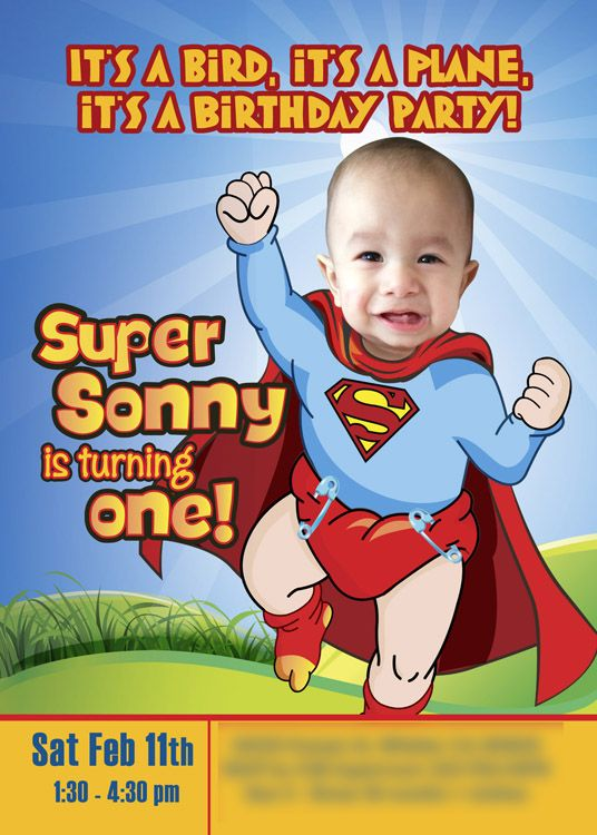 Baby Superman Invitation with your little boy as Super baby Sample