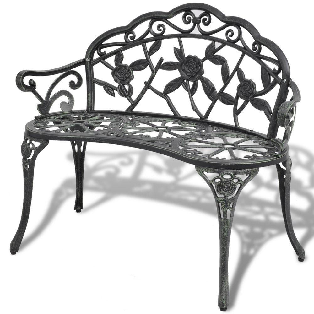 Steel Garden Bench 3 Seater Outdoor Patio Park Seating Backyard Lawn Seat Bronze