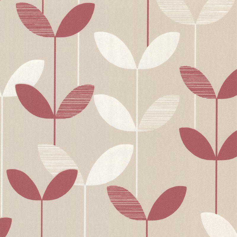 Decorline Ernst Linear Leaf Wallpaper Pink - 2533-20204