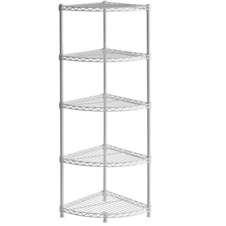 Muscle Rack Wscr141447 5 Shelf Steel Wire Corner Shelving Unit 14 Inch Width 47 Inch Height 14 Inch Depth Corner Shelving Unit Corner Shelves Shelves