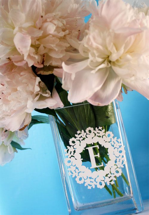 vinyl monogram vase - by Skip To My Lou