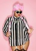 Domino Dollhouse - Plus Size Clothing: Downtown Blouse in Black + White Stripe Chiffon