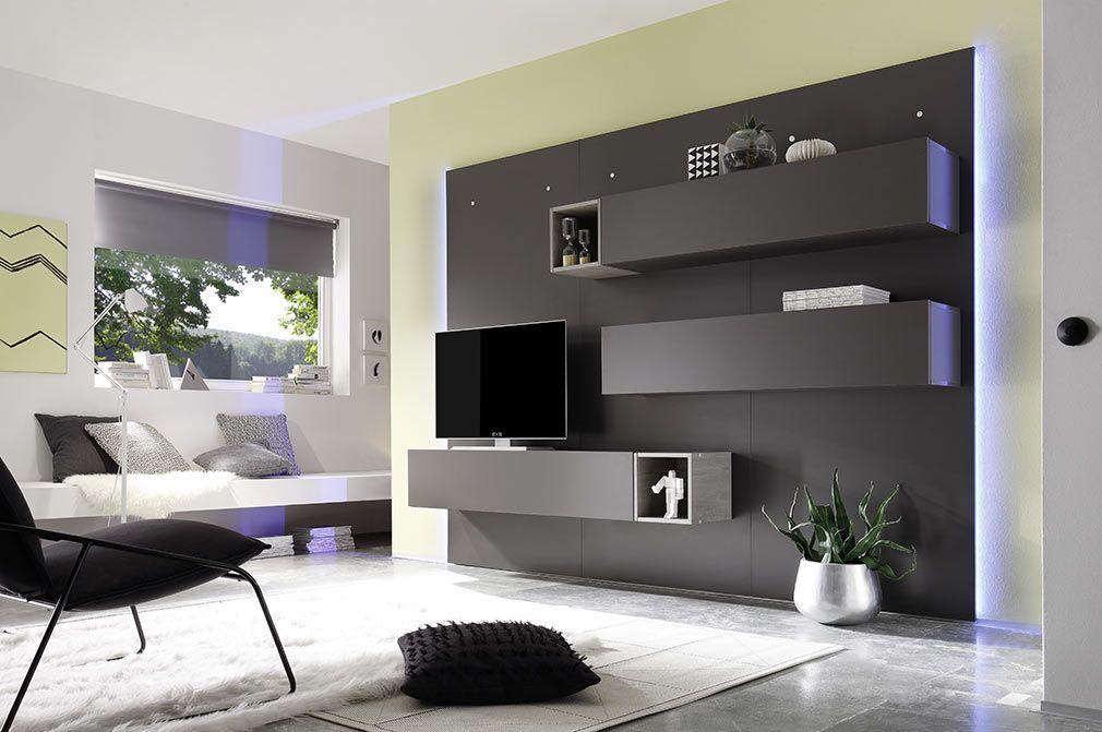 Element Mural Tv Design Gris Anthracite Mat Horizontal Colored V2 Miliboo Meuble Tv Mural Design Idee De Decoration Idees Decoration Maison