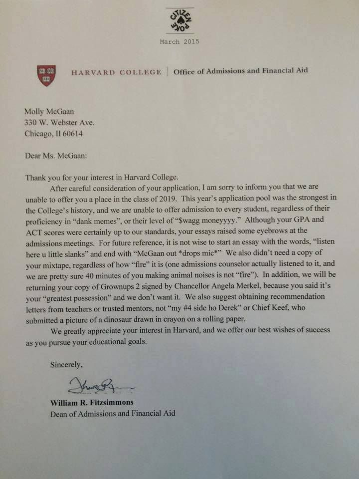 High school humorists deserve Harvard admission for duping the Web - denial letter