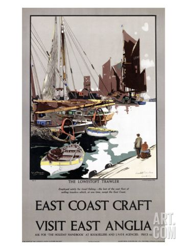 East Anglia 2 Poster Railway Vintage Beautiful Boat East of England Old Advert