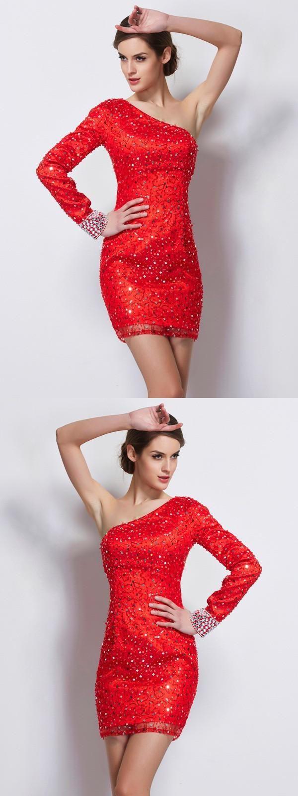 Fashion sheathcolumn long sleeves beading oneshoulder short