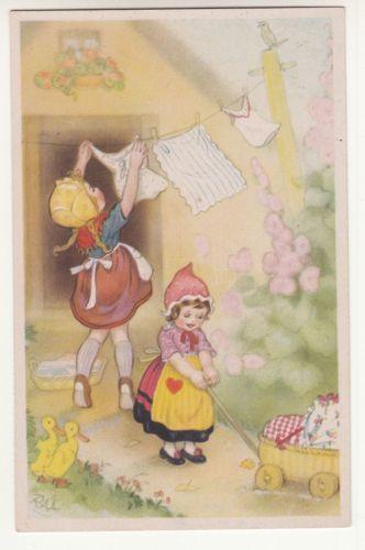 Kuenstler-Ak-Maedchen-machen-Waesche-um-1950-Charlotte-Baron-RAA-A820