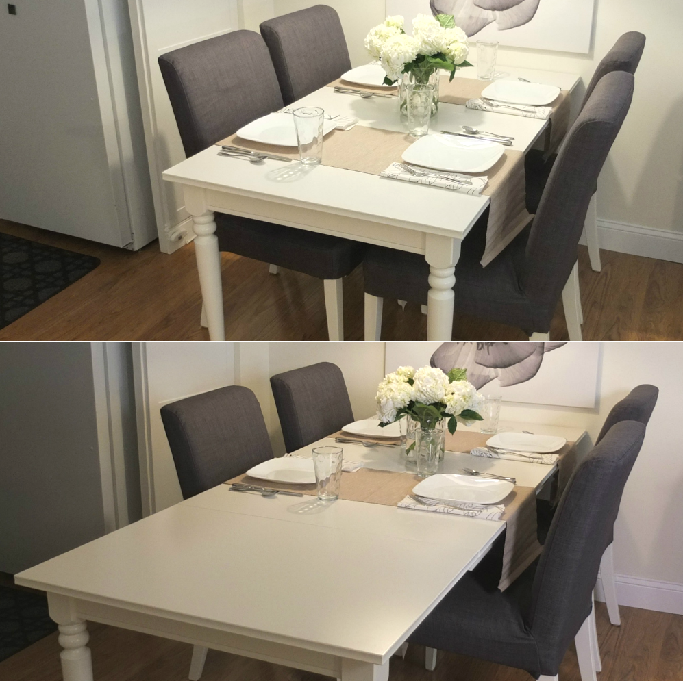 Ingatorp extendable table white leaves and spaces for Extra small dining table
