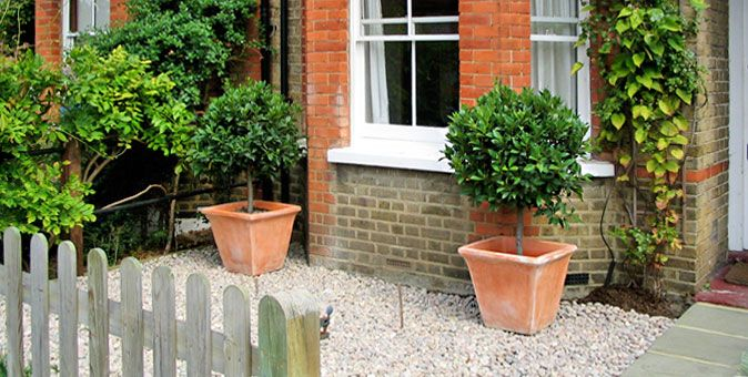 front garden ideas simple bay tree planters and gravel - Front Garden Ideas London