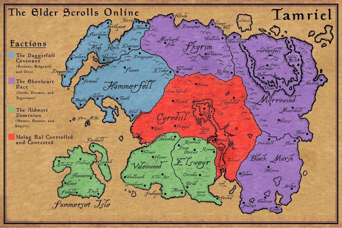 Elder Scrolls Online Map   Elder scrolls online, Elder ...