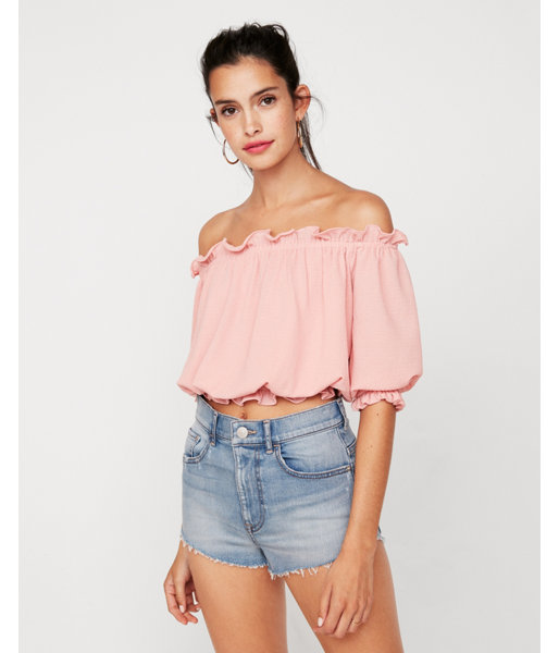 f70ceb857b3 Petite Textured Off The Shoulder Cropped Top Pink Women s XS Petite ...
