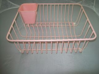 vintage pink kitchen sink dish drainer drying enamel wire rack with - Enamel Kitchen Sink