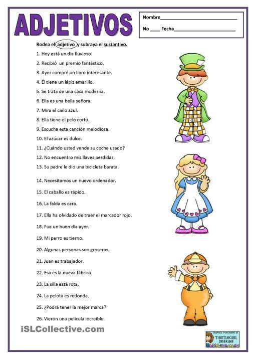 Adjetivo y sustantivo | Homeschool | Pinterest | Lengua, Español y ...