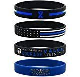 Inkstone Thin Blue Line Silicone Wristband Set with Policeman's Prayer and American Flag - Law Enforcement Jewelry Gifts Accessories for Police Officers Cops
