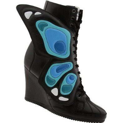 Amazon Com Adidas Jeremy Scott Wings Wedge Butterfly Black Blue G61078 Shoes Boots Adidas Jeremy Scott Wings Black Boots Women