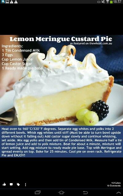 Lemon Meringue Pie Meringue Pie Recipes Lemon Pie Recipe Condensed Milk Lemon Pie Recipe