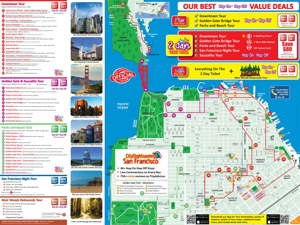 San Francisco Tour Map | San Francisco in 2018 | Pinterest | San ...