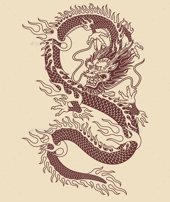 Asian Tattoos Illustrations: Traditional Asian Dragon Vector Illustration