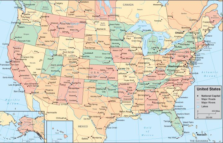 United States Map With City Names Map Usa Map Images - Usa map with states and cities name