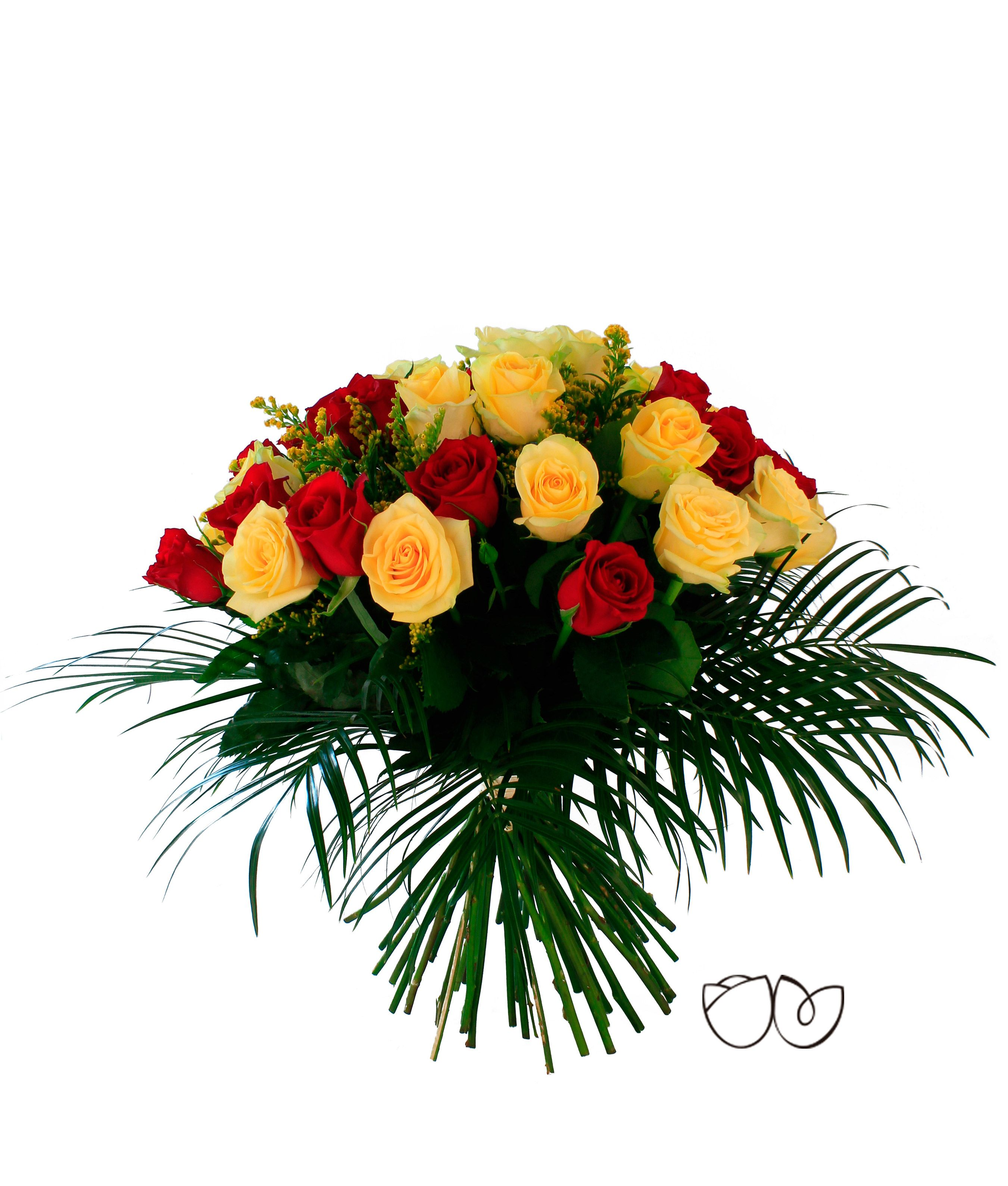 Ramo de Rosas de Colores. *Fuego* 45 rosas que llenarán el