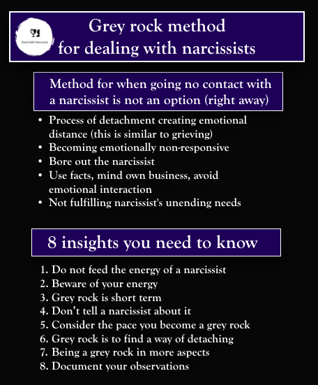 Grey rock method for dealing with narcissists