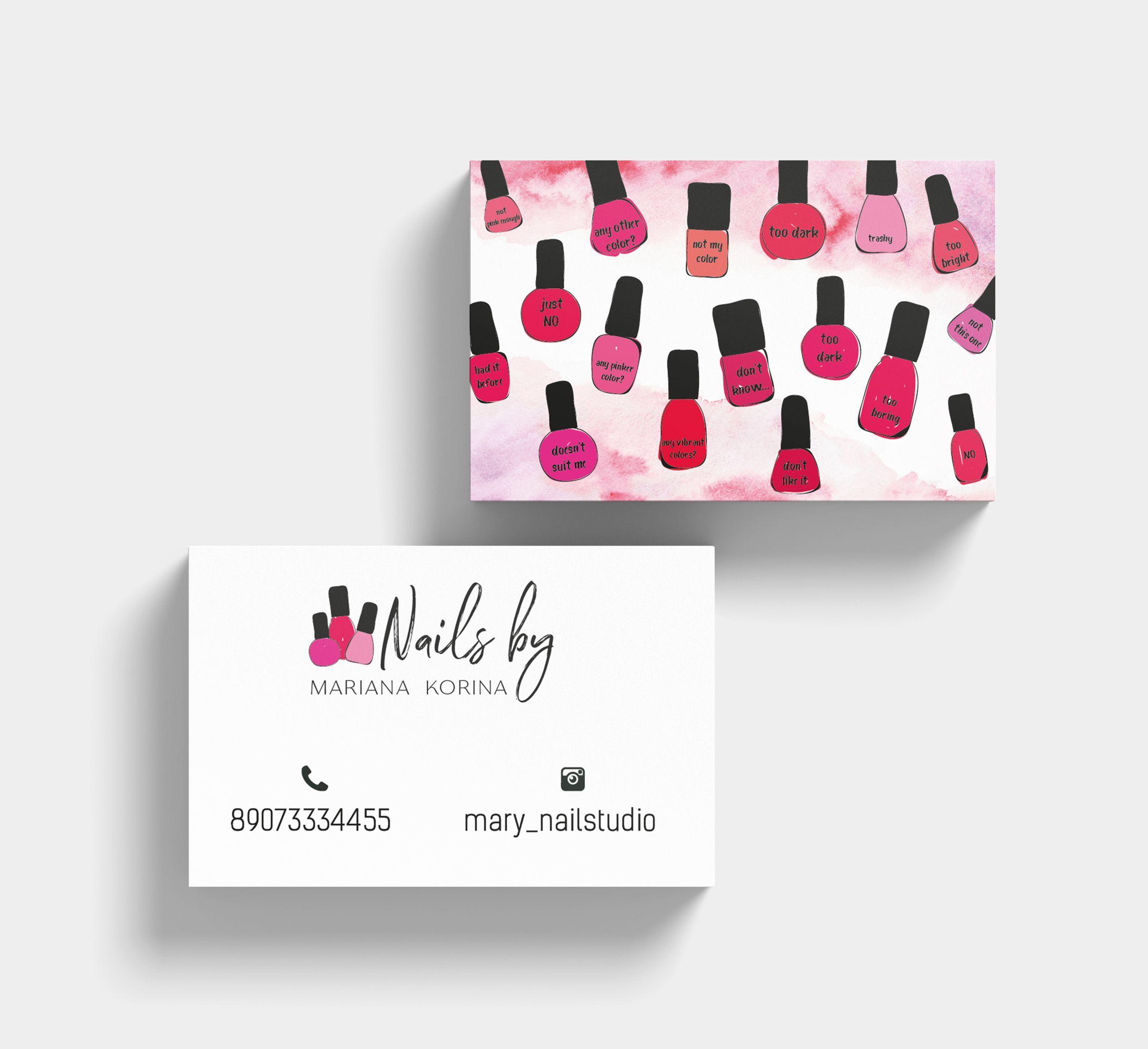 Nail Salon Business Card Business Card Nails Nail Business Card With Logo Nail Artist Business Card Busine Vizitki Salona Shablony Vizitok Manikyurnye Salony