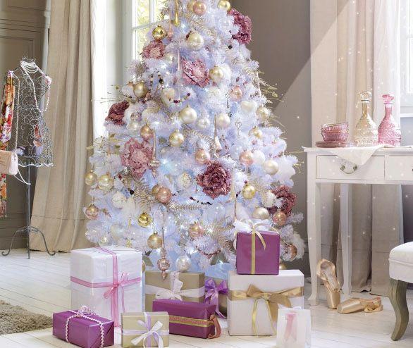 Sapin de Noël blanc , déco or, argent, rose