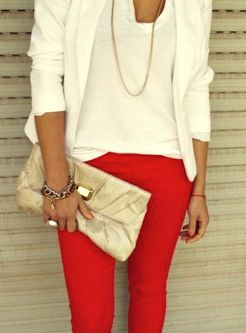 white blazer + red jeans