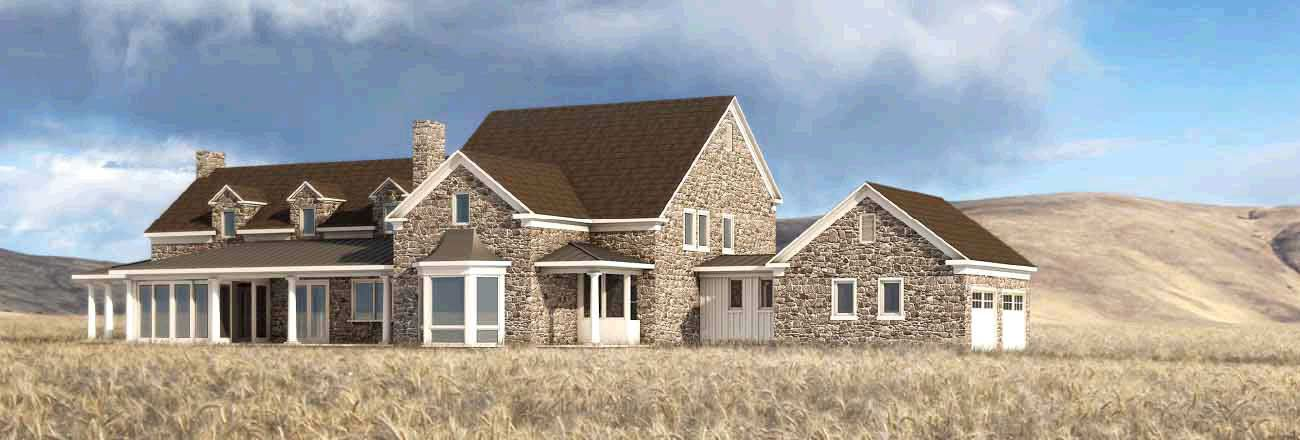 traditional stone farmhouse in the pacifc northwest designed by geltote hommas featuring white pillars stone exterior classic shutters and trim - Stone Farmhouse Exteriors