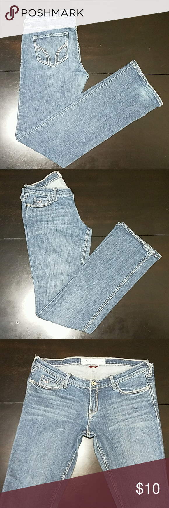 Hollister Low rise jeans Low rise, dark blue jeans, stretch, straight leg, size 5 regular Hollister Jeans Straight Leg