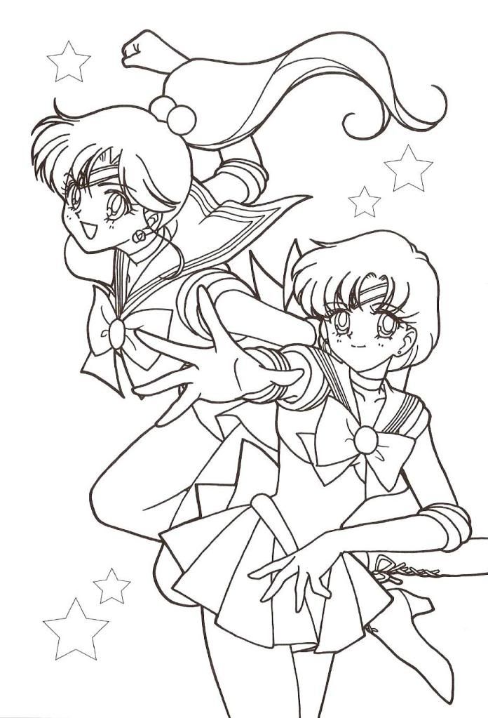 Jupiter Mercury Coloring Page Sailor Moon Coloring Pages