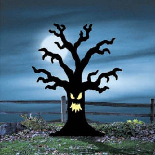 New halloween lawn art yard shadow silhouette for Creepy trees for halloween