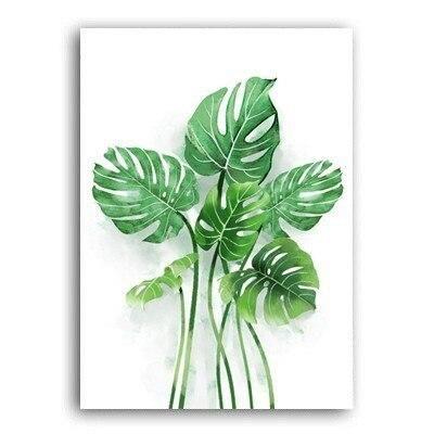 Nordic Green Refresh Minimalist Leaves - Canvas Wall Art Painting - 40x50 cm no frame / Rabbit