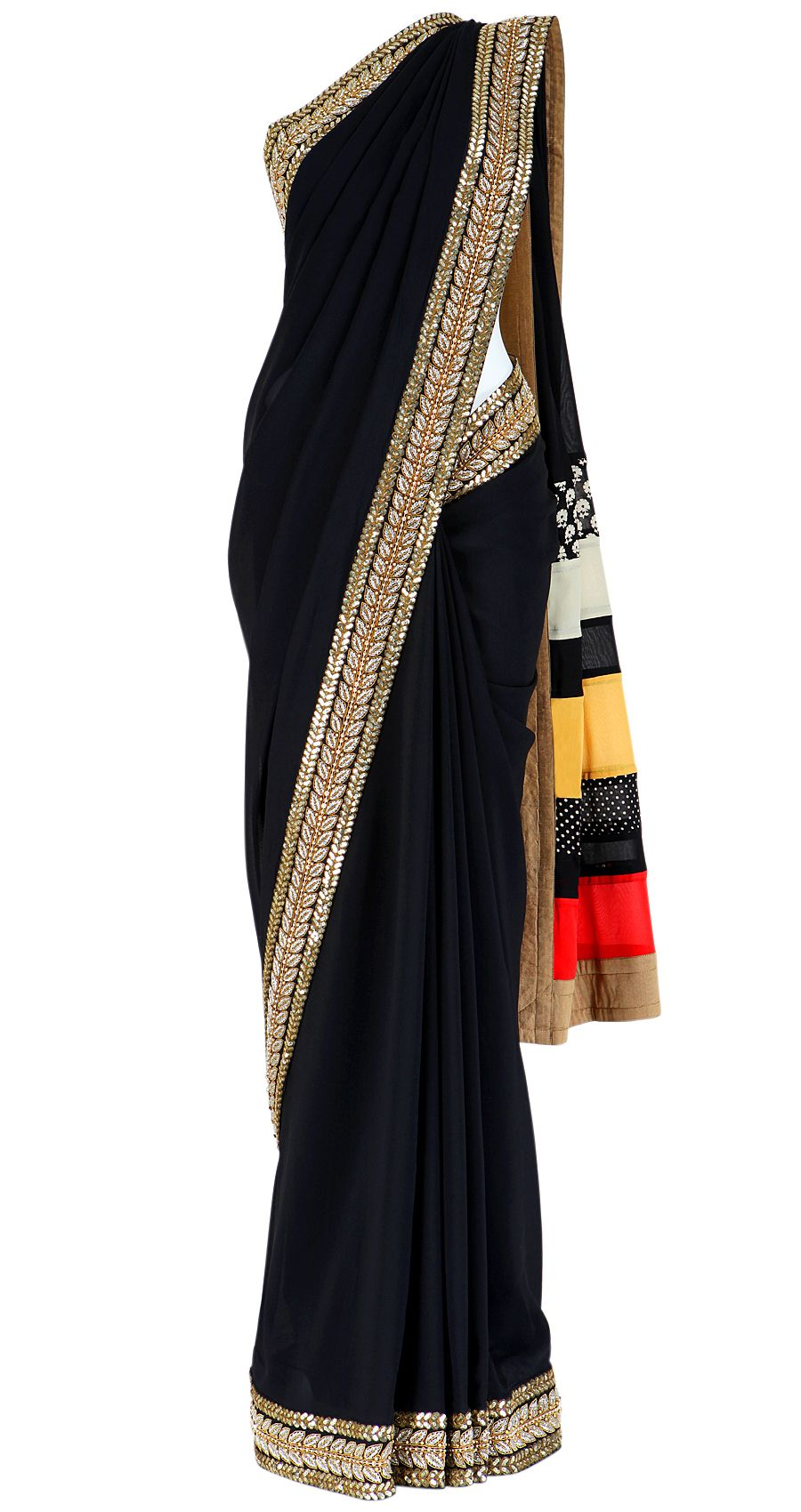 50a28f26018269 Black georgette saree with a multi printed striped pallu in red, yellow and  white. It comes with a matching blouse piece.