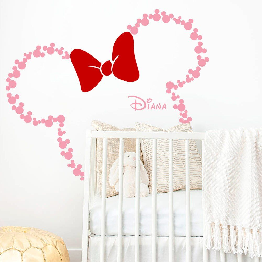 Disney Minnie Mouse Ears With Bow amp Custom Babay Name Mickey Mouse Wall Decals Nursery Kids Roo