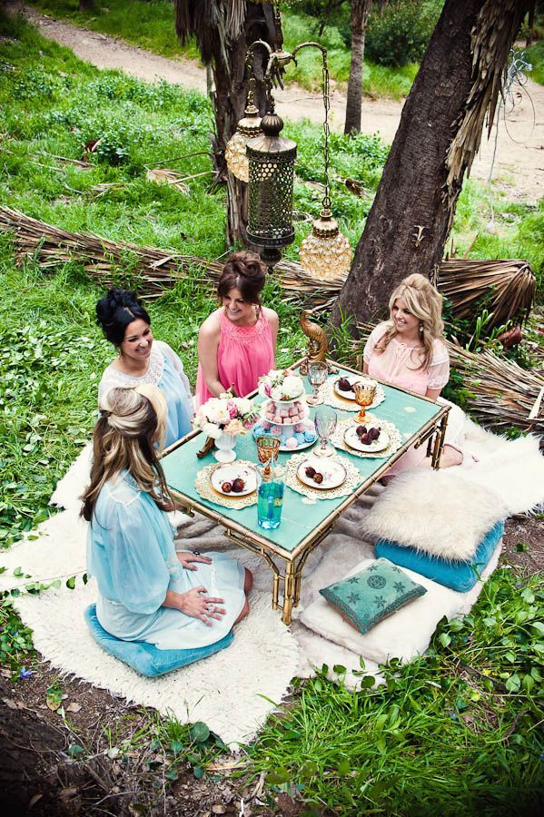 bridal shower picnic... love this low to ground on blankets but lots of them