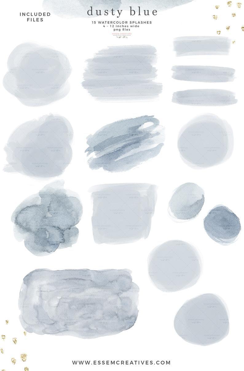 Dusty Blue Watercolor Clipart Texture Shapes Splash Splodge