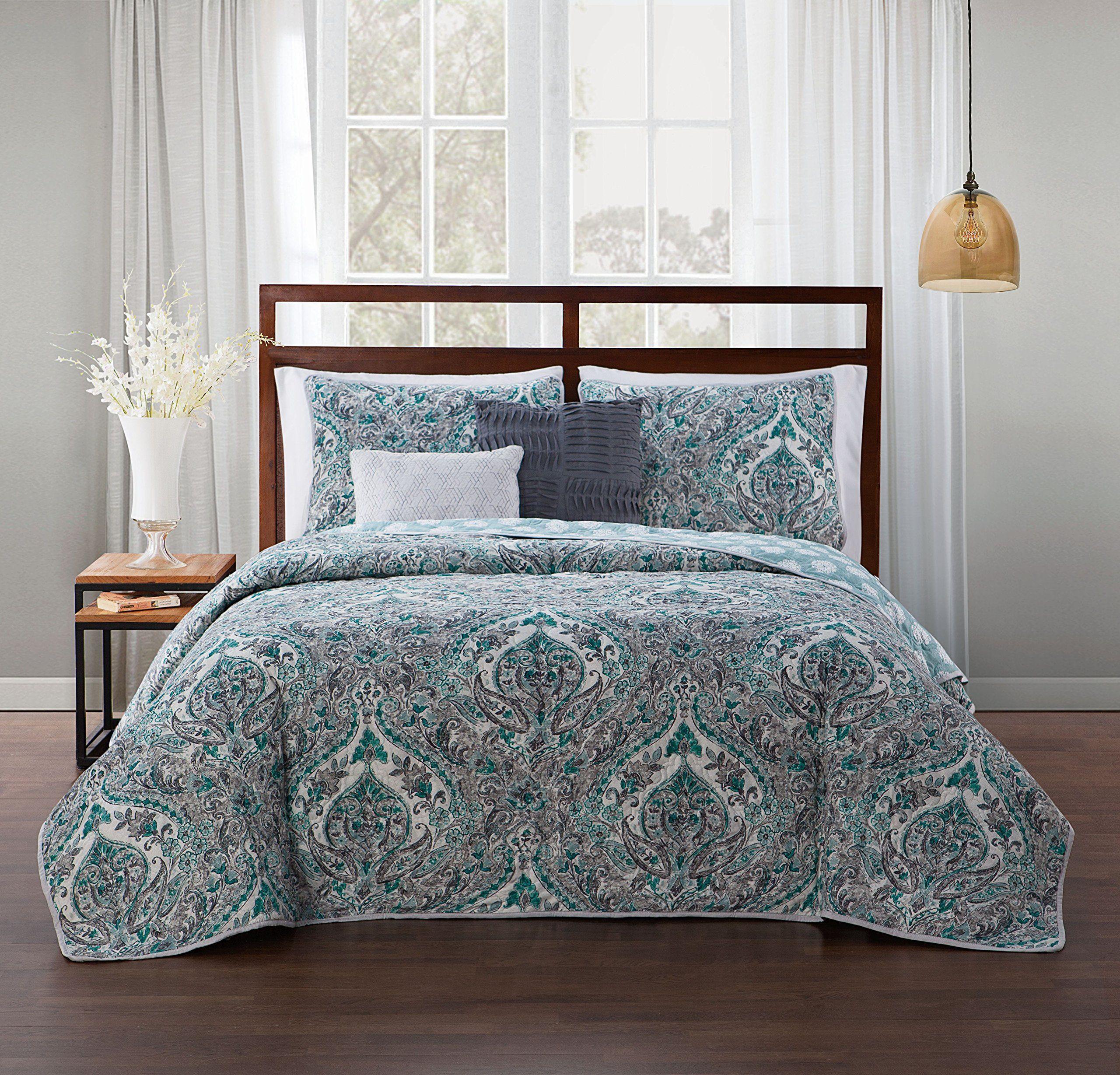 avondale manor hali 5piece quilt set queen teal grey click image rh pinterest com
