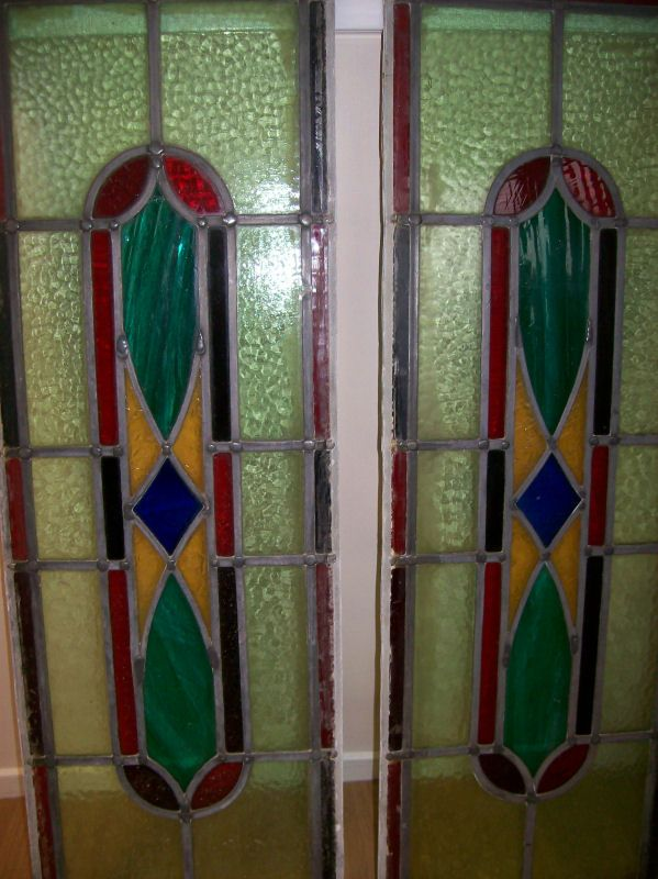 Large Stained Gl Window Panels Reclaimed Antique