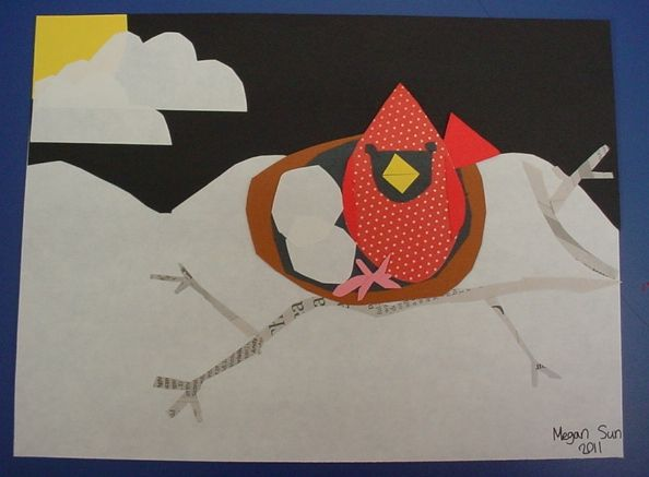Charlie Harper inspired collages, 3rd grade.  Cardinals with newspaper branches.