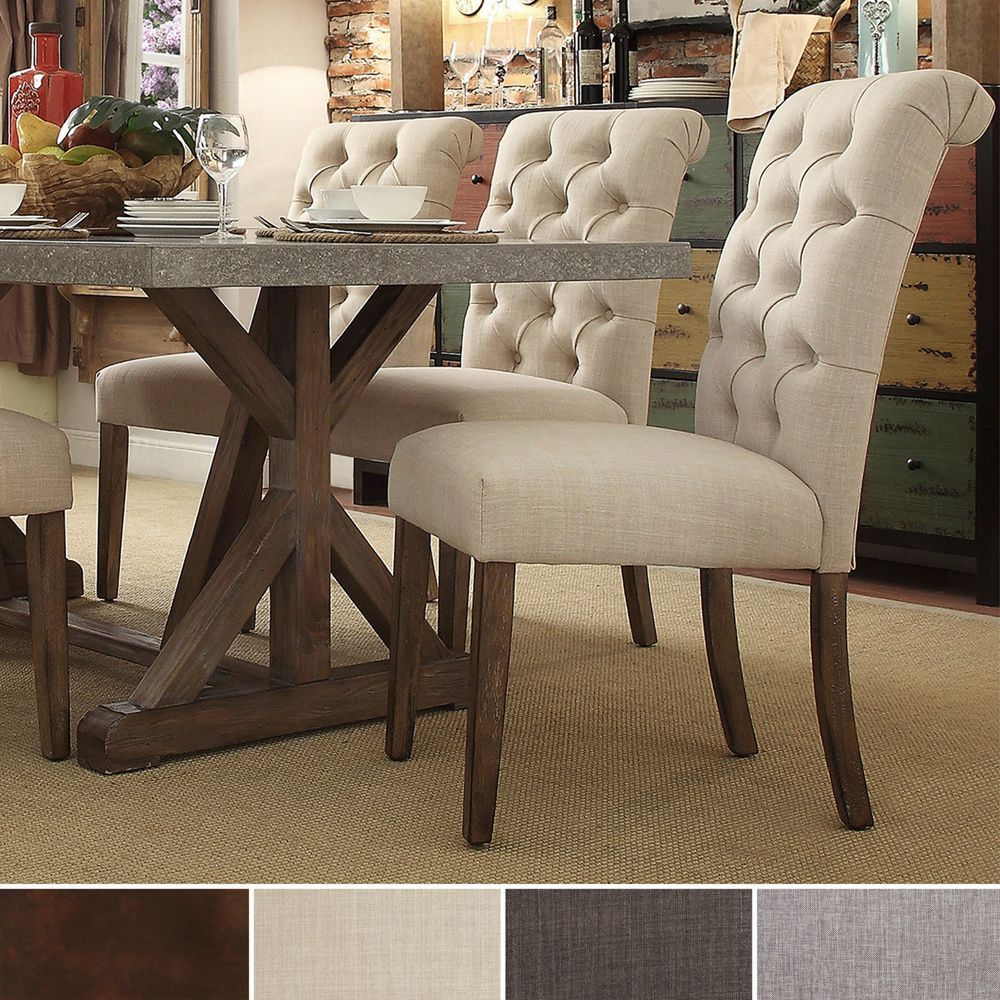 Tribecca home benchwright button tufts upholstered rolled for Low back parsons dining chair