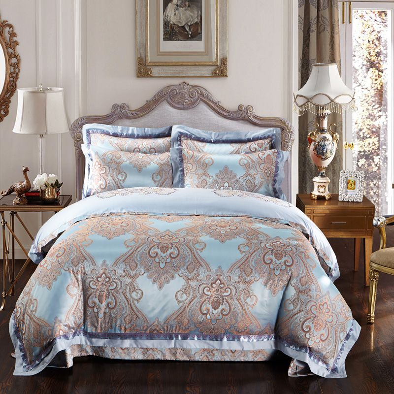 Gold and jacquard comforter cover king queen