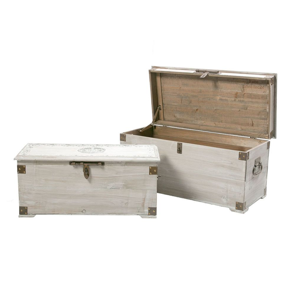 details zu truhe holz abschlie bar holztruhe bauerntruhe gartentruhe gartenbox wei grau. Black Bedroom Furniture Sets. Home Design Ideas