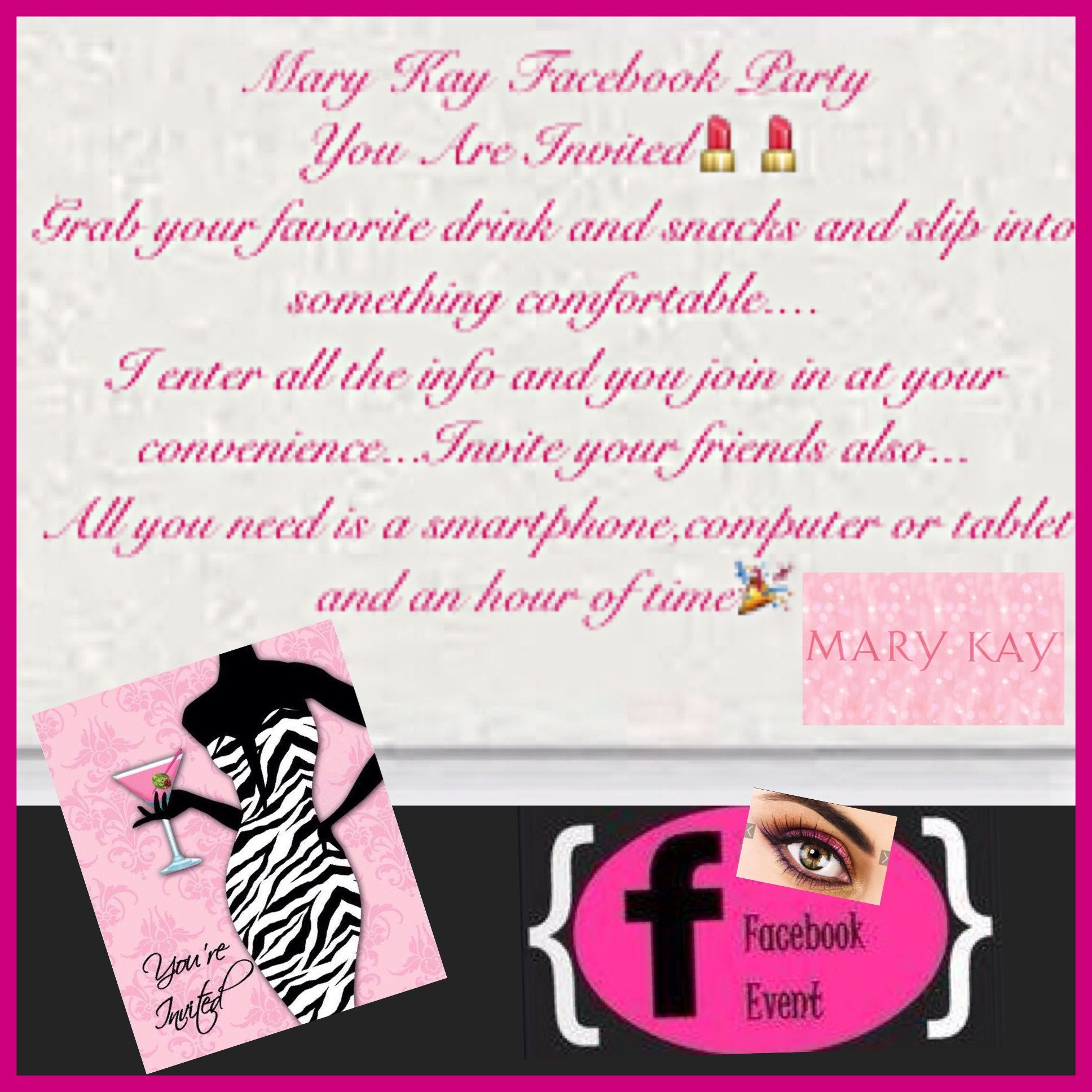 Your invited to a Mary Kay Facebook Party | Important | Pinterest ...