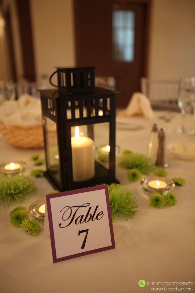 Ikea borrby lantern wedding centerpiece with green spider for Cheap table lanterns for weddings