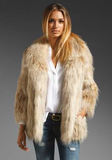 369f2876a6d3 Juicy Couture Faux Fur Jacket in Blonde | My Style | Faux fur jacket ...