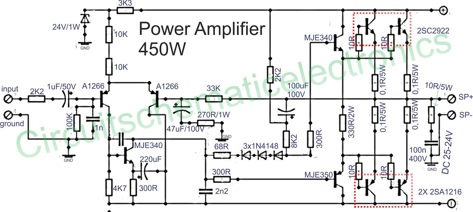circuit of power amplifiers with power output of 450 watts mono with transistor booster sanken amplifiers are also frequently used in the amplifier a  [ 1600 x 718 Pixel ]